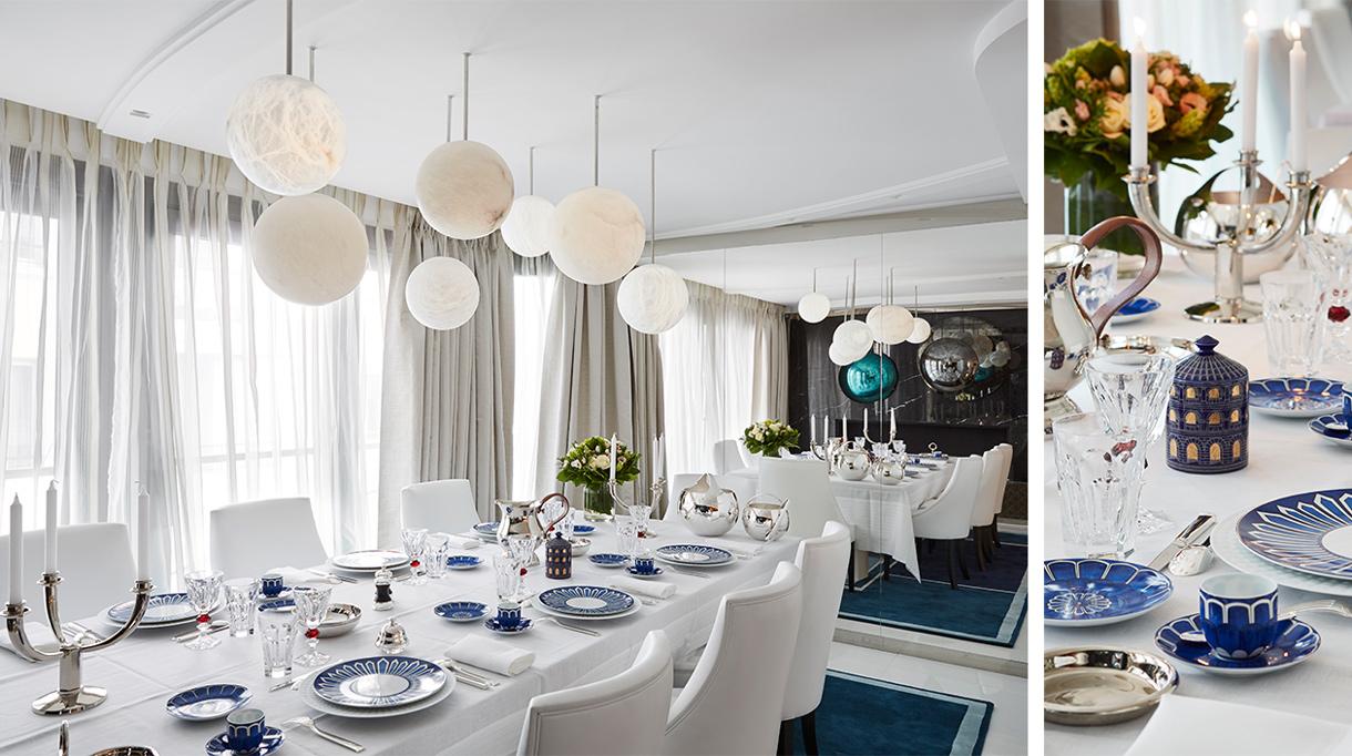 Signatures Singulières Magazine. Stéphanie Coutas. Appartement a Cannes. Salle à manger. Luminaire Atelier Alain Ellouz.