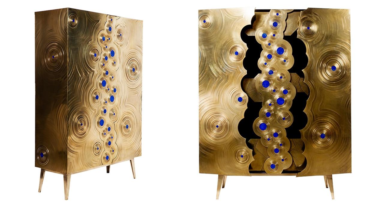 Erwan Boulloud - designer et sculpteur - Cabinet en chêne et laiton, Incrusté de lapis-lazuli - Signatures Singulières Magazine - magazine digital des talents français