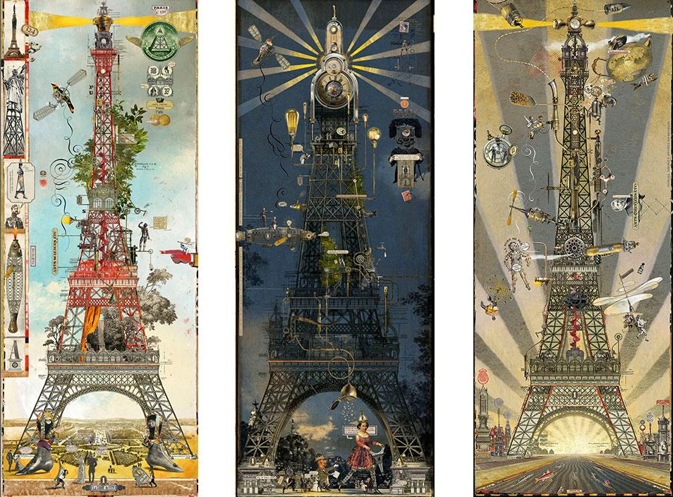 Bruno Mallart - illustrateur - Tour Eiffel - oeuvre numérique collé sous Diasec - Galerie Bayart - Signatures Singulières - Magazine digital des talents Français