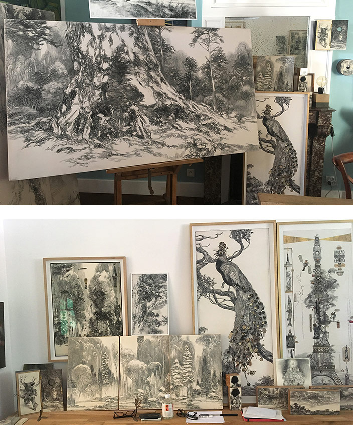 Bruno Mallart - illustrateur - dessin au crayon - Galerie Bayart - Signatures Singulières - Magazine digital des talents Français