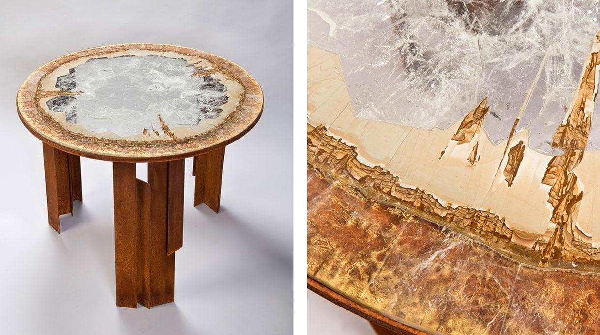 Hervé Obligi - Sculpteur de pierre - Artisan d'art - Sculpteur lapidaire - Table en marqueterie de cristal de roche - Feuille d'or - Piètement en acier oxydé - Signatures Singulières - Magazine digital des talents Français