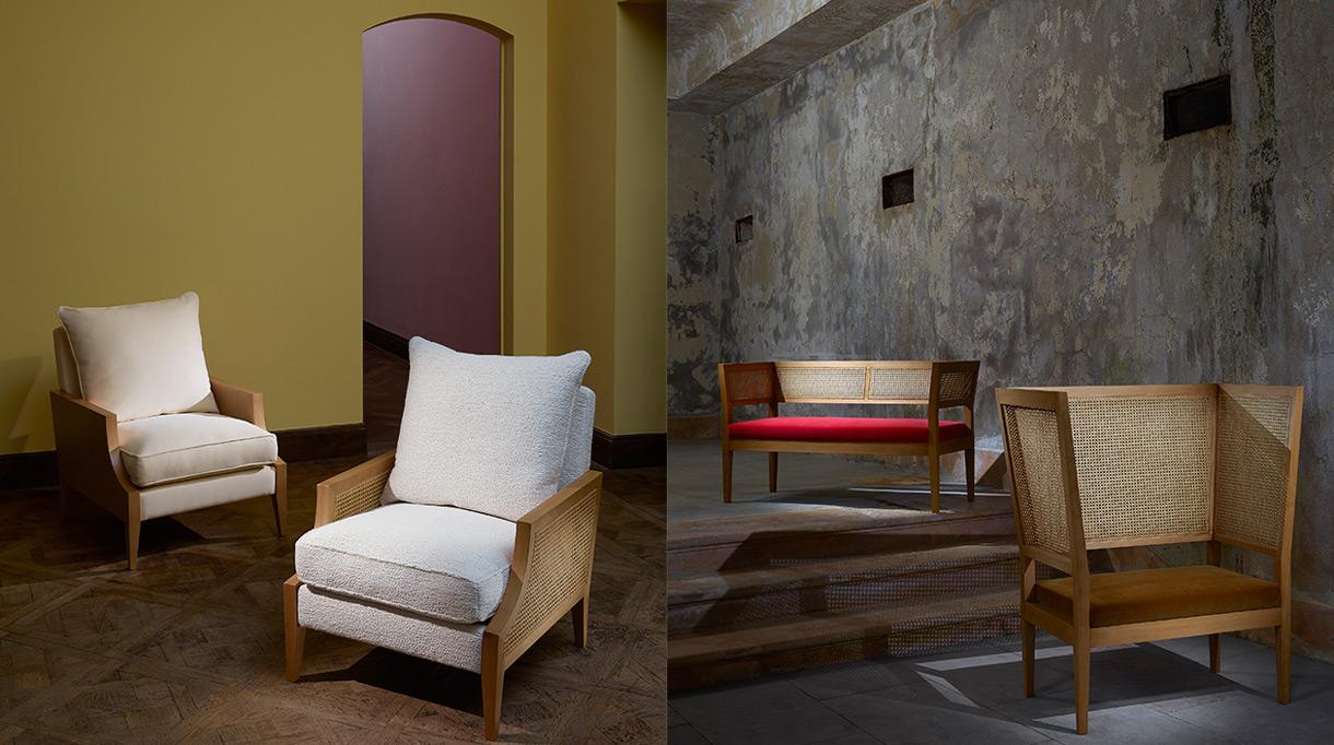 Pierre Frey dévoile sa nouvelle collection de mobilier. Fauteuil Colombie dessine par Rene Prou.