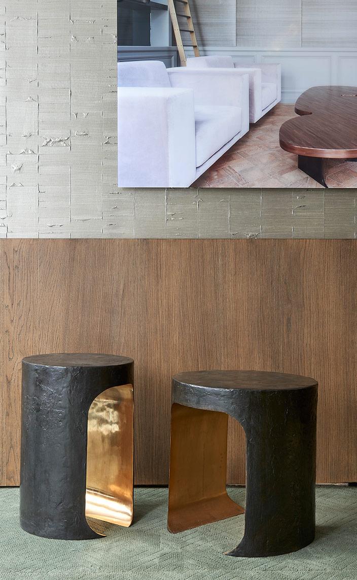 Signatures Singulières - Thierry Lemaire - Architecte d'intérieur - Galerie Thierry Lemaire - Table d'appoint en laiton et bronze.