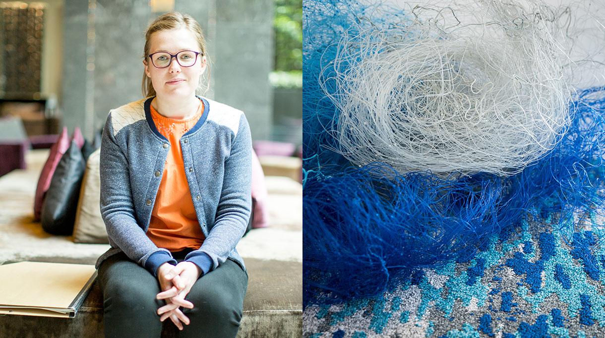 Signatures Singulières - Balsan moquette - collection Frieselis - Isabelle Daëron - Moquette bleue - issue-de-l'écologie