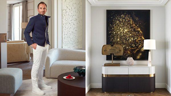 Signatures Singulières - Fabrice Juan - Architecte d'intérieur - Décorateur - Parisien style - Commode blanche et laiton - Canapé beige - lampe blanche en albâtre - Appartement contemporain