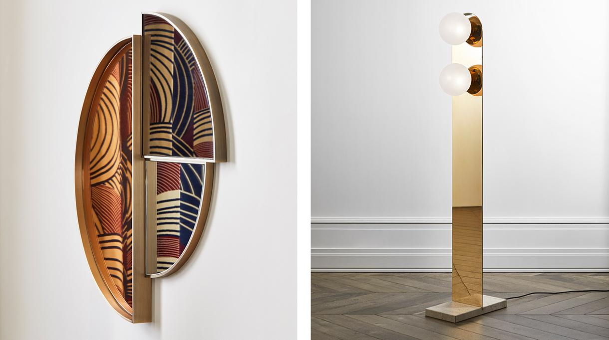 signatures singulières - Humbert & Poyet - Architecte d'intérieur - Nouvelle collection de mobilier - miroir en laiton - lampadaire en laiton