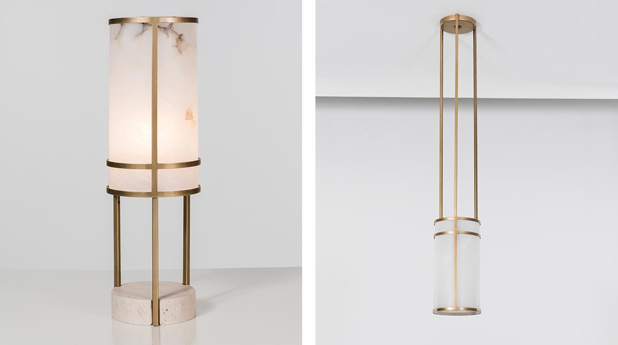 signatures singulières - Humbert & Poyet - Architecte d'intérieur - Nouvelle collection de mobilier - Lampe en albâtre et laiton - Suspension en albâtre et laiton