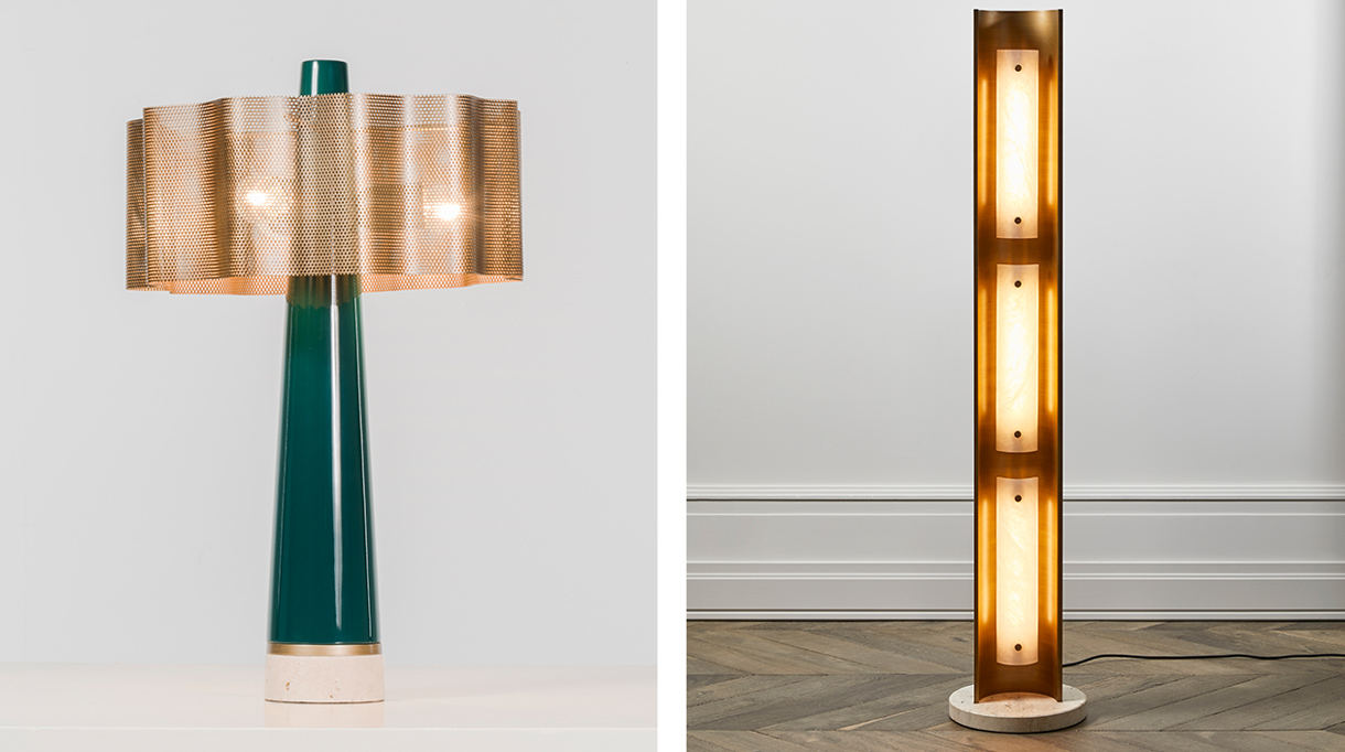 signatures singulières - Humbert & Poyet - Architecte d'intérieur - Nouvelle collection de mobilier - Lampe Rita en laiton vert et doré