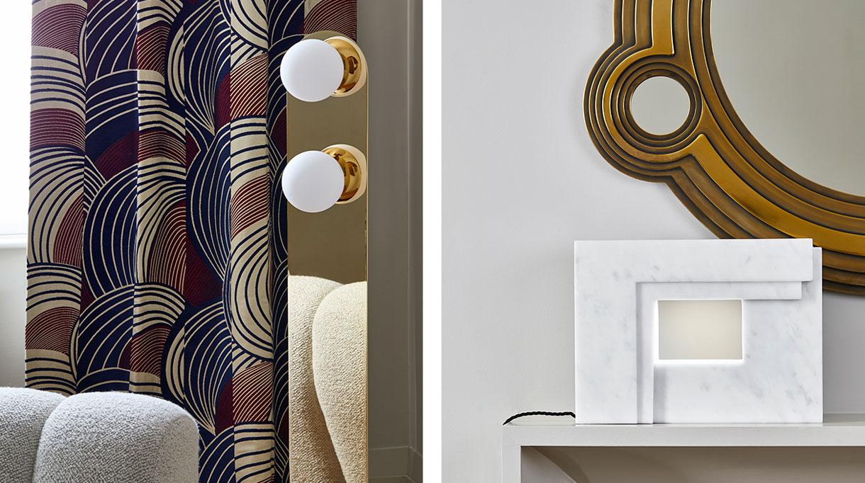 signatures singulières - Humbert & Poyet - Architecte d'intérieur - Nouvelle collection de mobilier - Lampadaire Ava en laiton - Miroir en laiton - Lampe en marbre