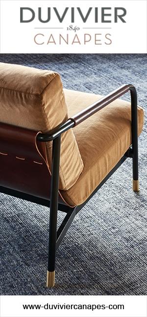 Duvivier Canapés - Canapé et fauteuil en cuir - Fauteuil en velours