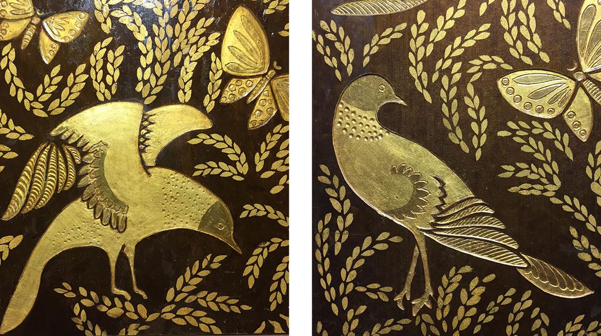 Signatures Singulières- ALM Déco - Mireille Herbst - Reproduction d'après un original de Albert Armand Rateau - Dessin et gravure à la main, dorure à la feuille d'or et laque satinée