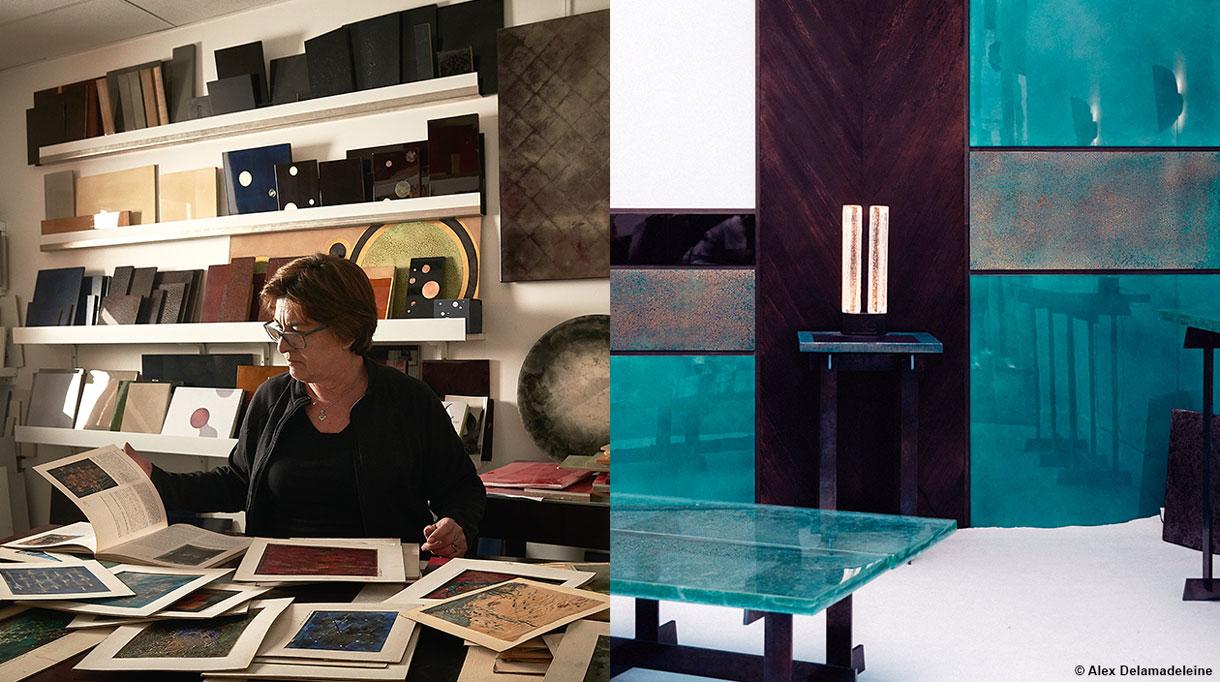 Signatures Singulières- ALM Déco - Mireille Herbst - Panneaux muraux en laque bleue paon