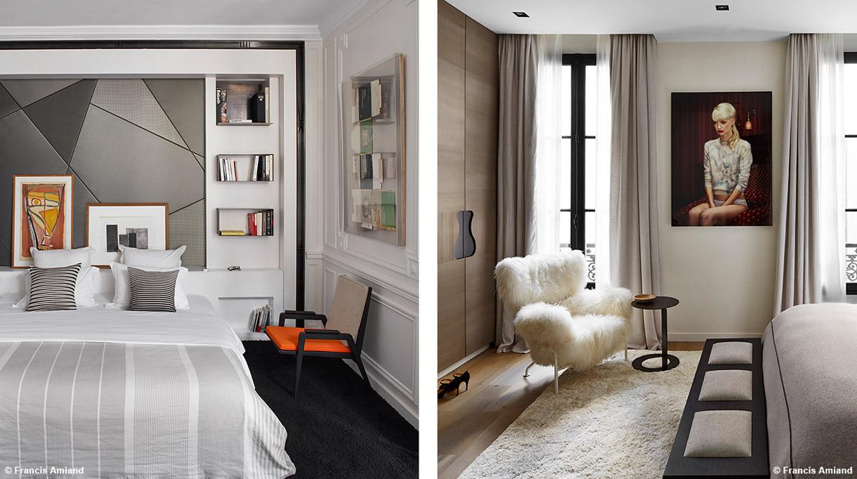 Bismut&Bismut - Architecte d'intérieur - interior designer - Chambre a coucher contemporaine - Fauteuil en fourrure - Signatures Singulières