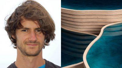 Signatures Singulières - Julien Lagueste - designer- table basse en resine bleue Souvenir des iles