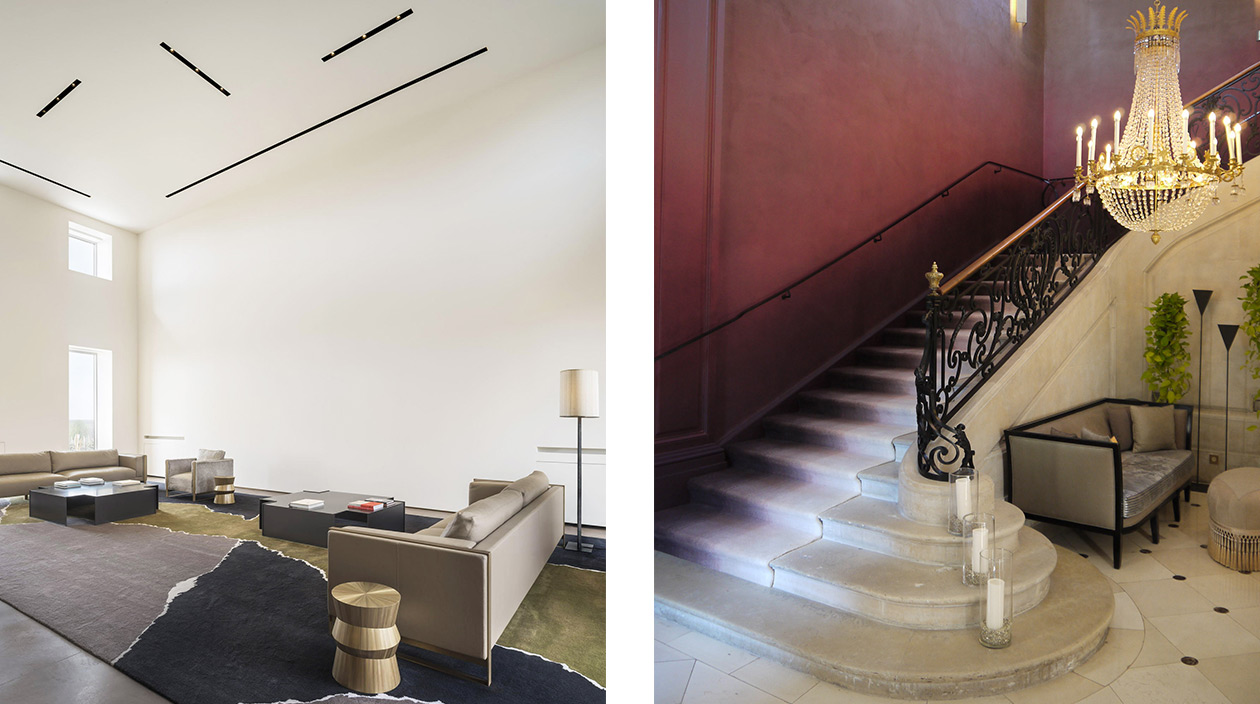 Signatures Singulières - manufacture des tapis de Bourgogne - Bruno Moinard - Chateau Latour - Hotel du Marc Veuve Clicquot à Reims - architecte d'intérieur - savoir-faire français - Tapis tuftés - Escalier en pierre - Rampe en fer forgé - Mur rouge - Tapis beige et noir
