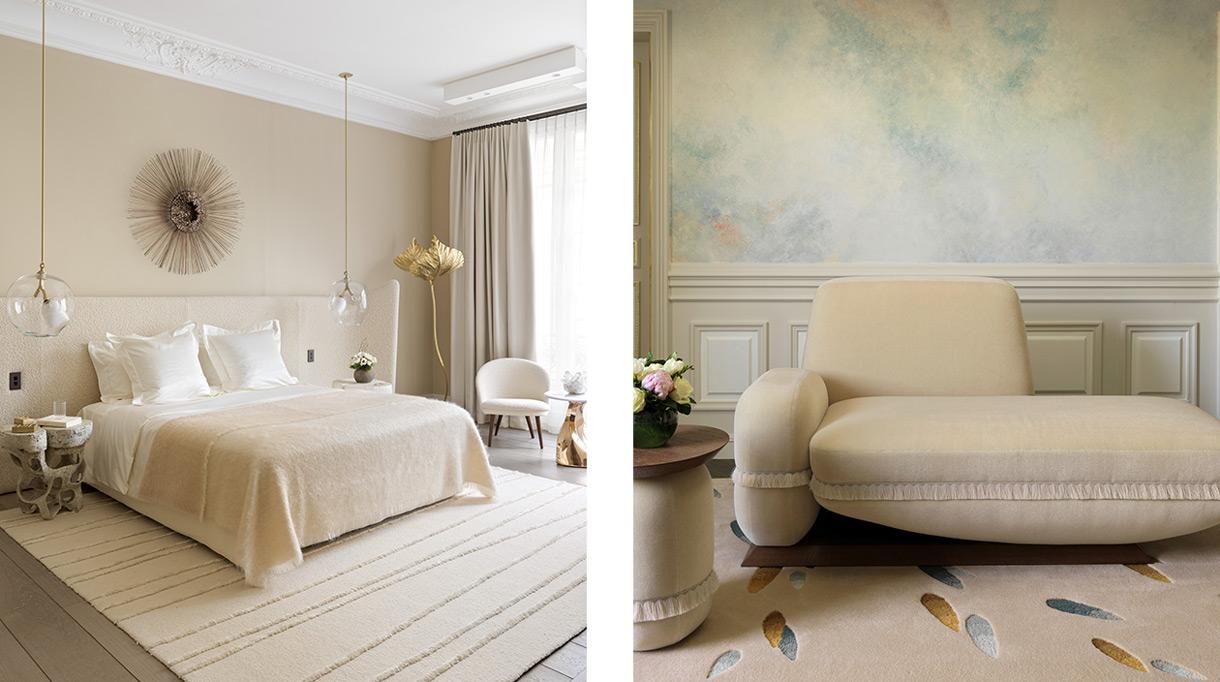 Signatures Singulières - manufacture des tapis de Bourgogne - Damien Langlois Meurinne - Lally Berger - Architecte d'intérieur - Hotel le Meurice - savoir-faire français - Tapis tuftés - tapis beige - chambre beige - Suspension transparente