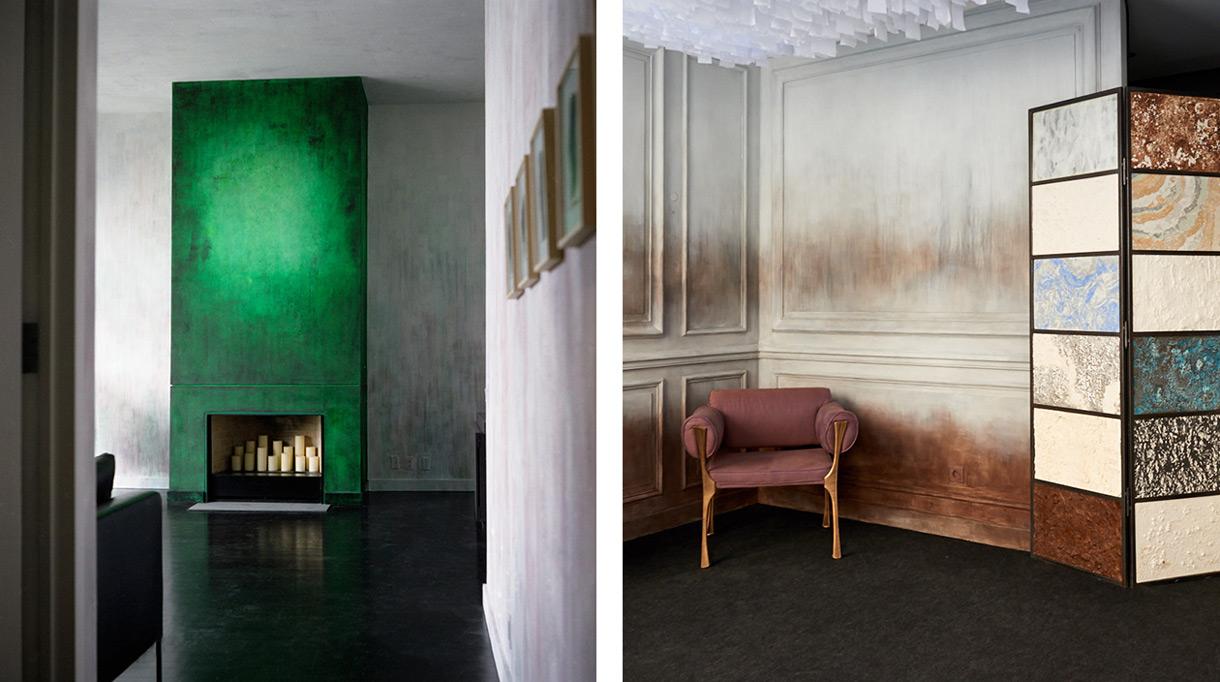 Atelier de Ricou - Trompe l'oeil - Décor mural - Décor de cheminée - Patine verte - Showroom Par Excellence a New York - Charles Jouffre - Signatures Singulières