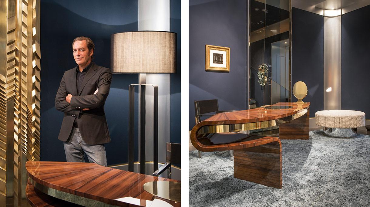 Thierry Lemaire - Architecte d'intérieur - Galerie Thierry Lemaire - Bureau en Fraké vernis - AD intérieurs 2013 - Murs bleus nuit - Signatures Singulières Magazine