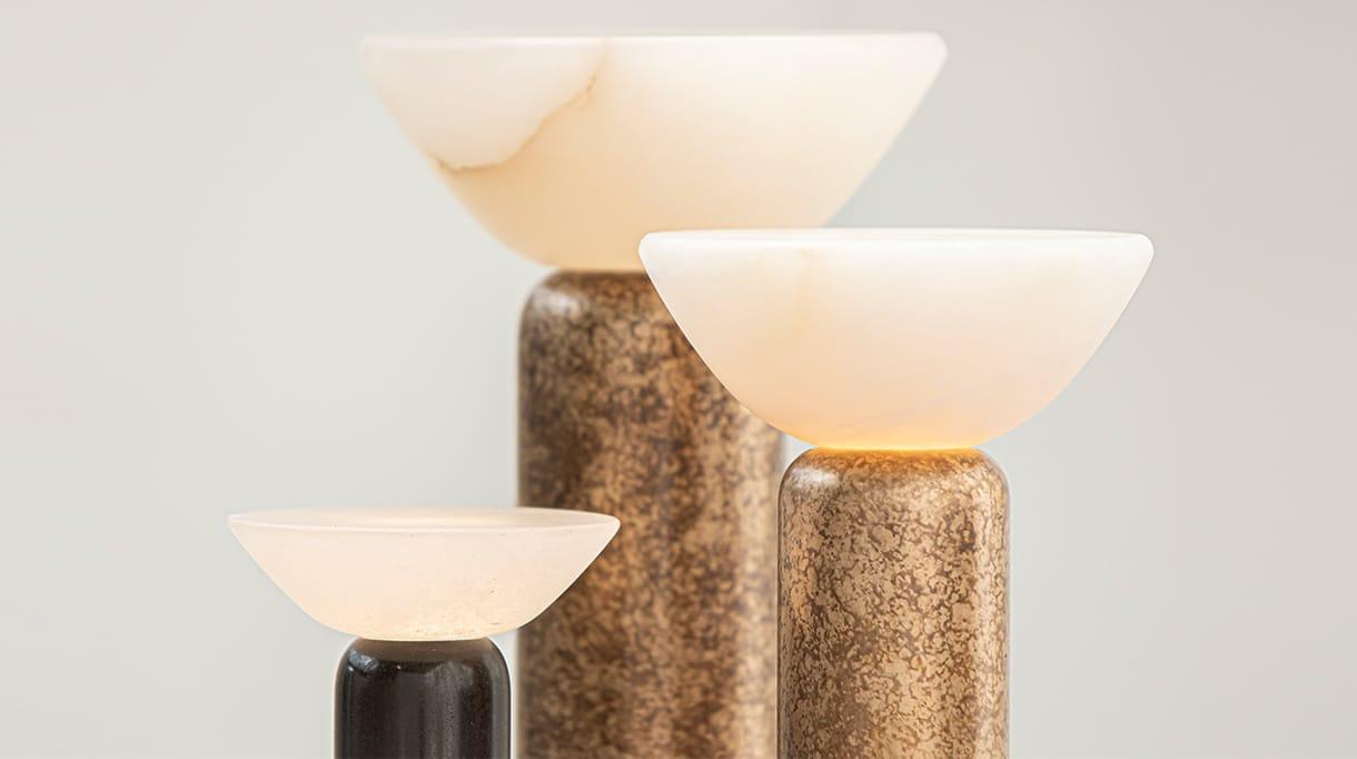 Entrelacs Création - Luminaire en albatre et bronze - collection Nomade - Felix Millory - Architecte d'intérieur - Signatures Singulières Magazine