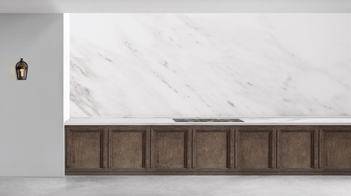 Guillaume Alan - Architecte d'intérieur - Appartement à Hyde Park à Londres - Cuisine contemporaine - Plan de travail et crédence en marbre blanc - Meuble de cuisine en chêne brossé - Signatures Singulières - Magazine digital des talents Français