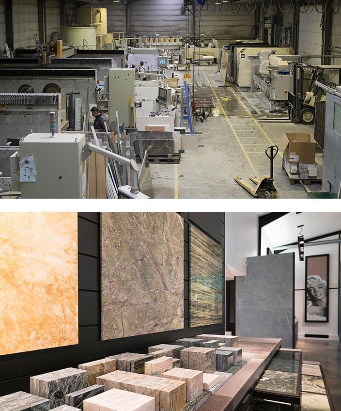Marbrerie de la Seine - showroom Bastille - Sol en marbre - Atelier Marbrerie de la Seine - Signatures Singulières Magazine