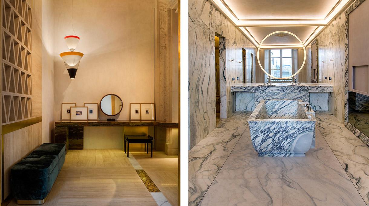 Marbrerie de la Seine - Salle de bain en marbre - Hotel Crillon - Sol en marbre - Ad intérieur - Charles Zana - Signatures Singulières