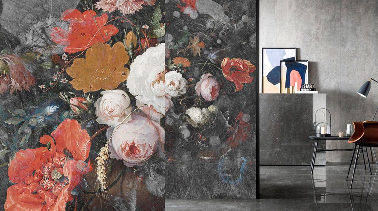 Labo-leonard - papier peint fleuri contemporain - Panoramique - Composition murale - sol en marbre noir - Signatures Singulières - Magazine digital des talents Français