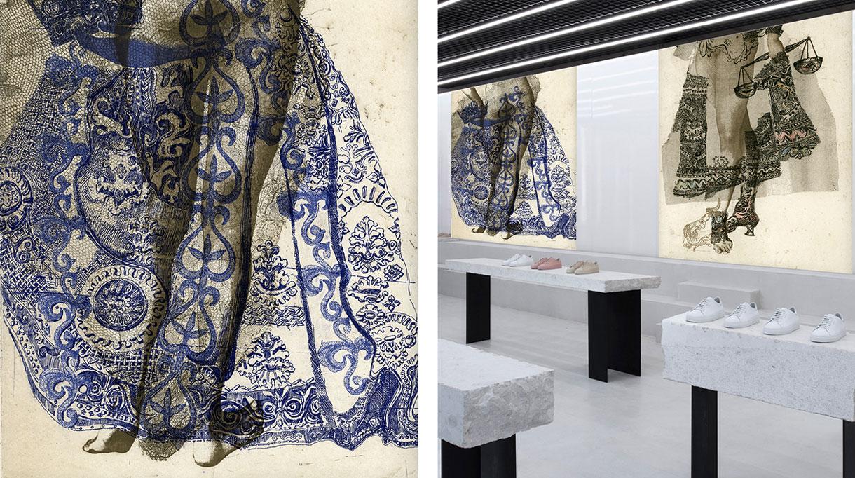Labo-leonard - papier peint contemporain - personnage sur papier peint - Panoramique - Composition murale - Singulières - Magazine digital des talents Français
