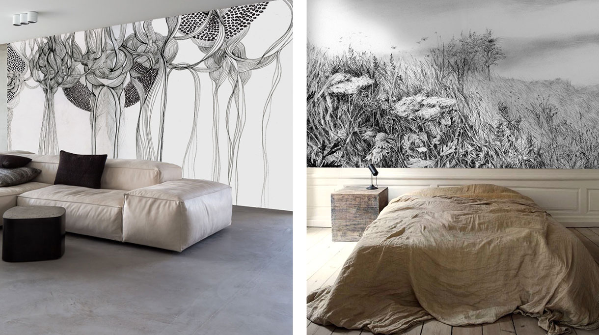 Labo-leonard - papier peint contemporain noir et blanc - Panoramique - Composition murale - dessus de lit en lin - Canapé en cuir ivoire - Sol en béton - Signatures Singulières - Magazine digital des talents Françai