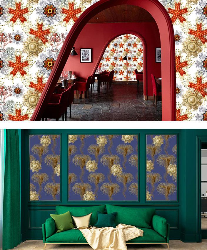 Labo-leonard - papier peint contemporain - Panoramique - papier peint rouge et blanc - Composition murale - Canapé vert - Mur rouge - Signatures Singulières - Magazine digital des talents Français
