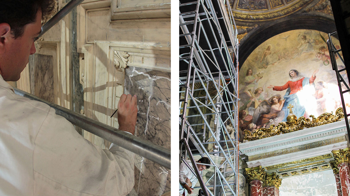 Hugues Losfeld - peintre en décor - faux marbre - restauration et création de décors muraux peints - decor eglise baroque - trompe l'oeil - Signatures Singulières - Magazine digital des talents Français