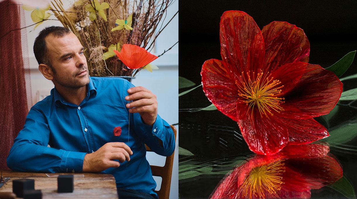 william amor - créateur upcycleur de fleurs artificielles - atelier créations messagères - Artiste plasticien - sacs plastiques recyclés - bouteille plastique recyclées - fleur rouge - coquelicot - savoir-faire français - Singulières - Magazine digital des talents Français