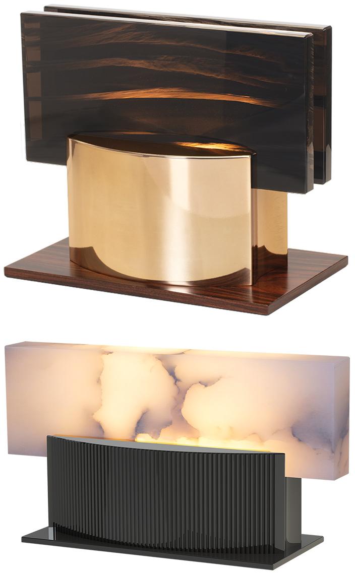 ateliers torsades - roger pradier - lampe à poser en bronze et albatre - poli miroir - lampe en aluminium finition canon de fusil - laiton poli miroir - Signatures Singulières Magazine