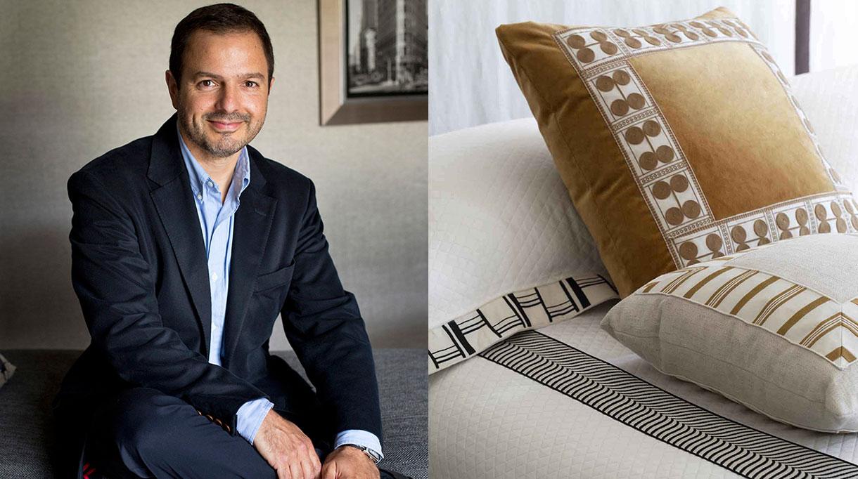 Houlès Passementerie - Philippe Houlès - Galon sur coussin - galon noir et blanc - couvre lit blanc - Signatures Singulières - Magazine digital des talents Français