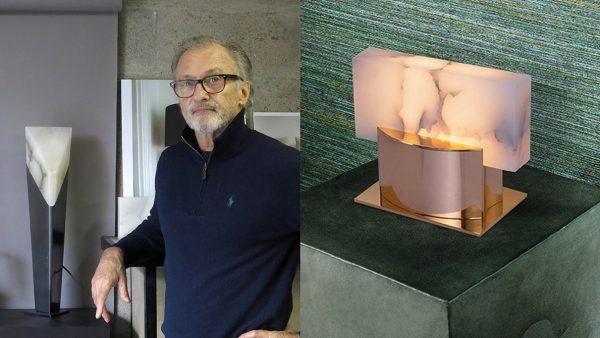 roger pradier - ateliers torsades - lampe à poser en bronze et albatre - poli miroir - signatures Singulières Magazine