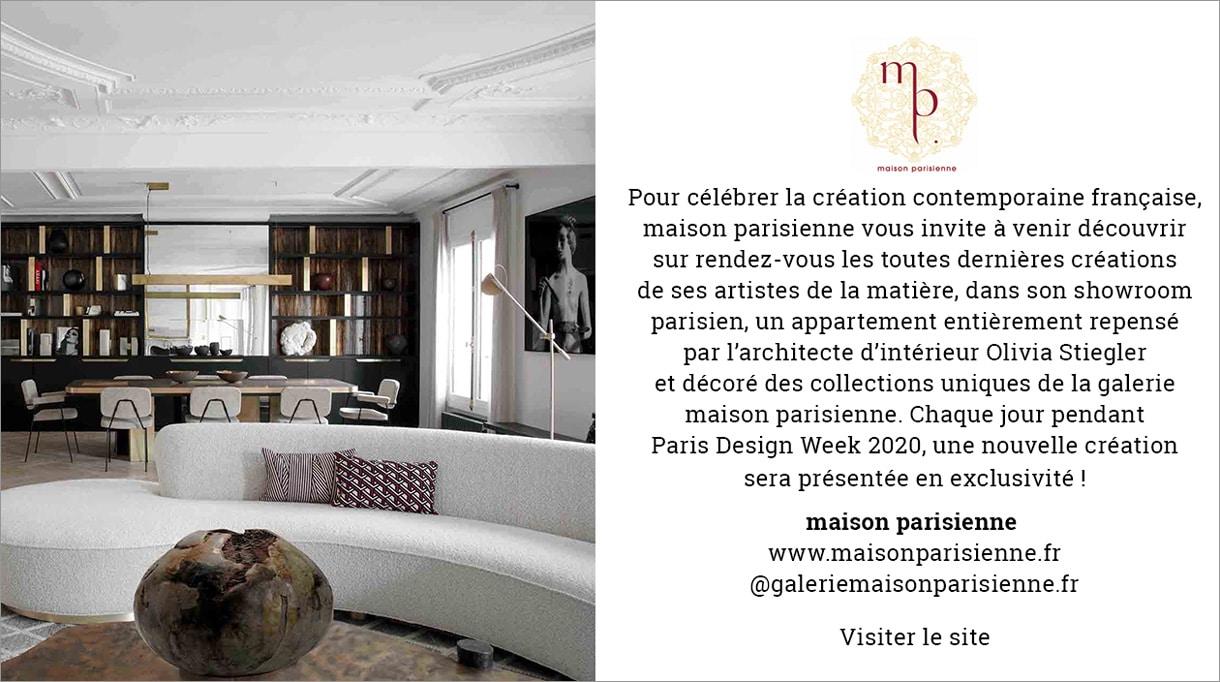 Paris design week 2020 - galerie maison parisienne - galerie d'art à paris - Frédéric Mulatier - vannier - olivia stiegler - Signatures Singulières Magazine - le magazine digital des talents français