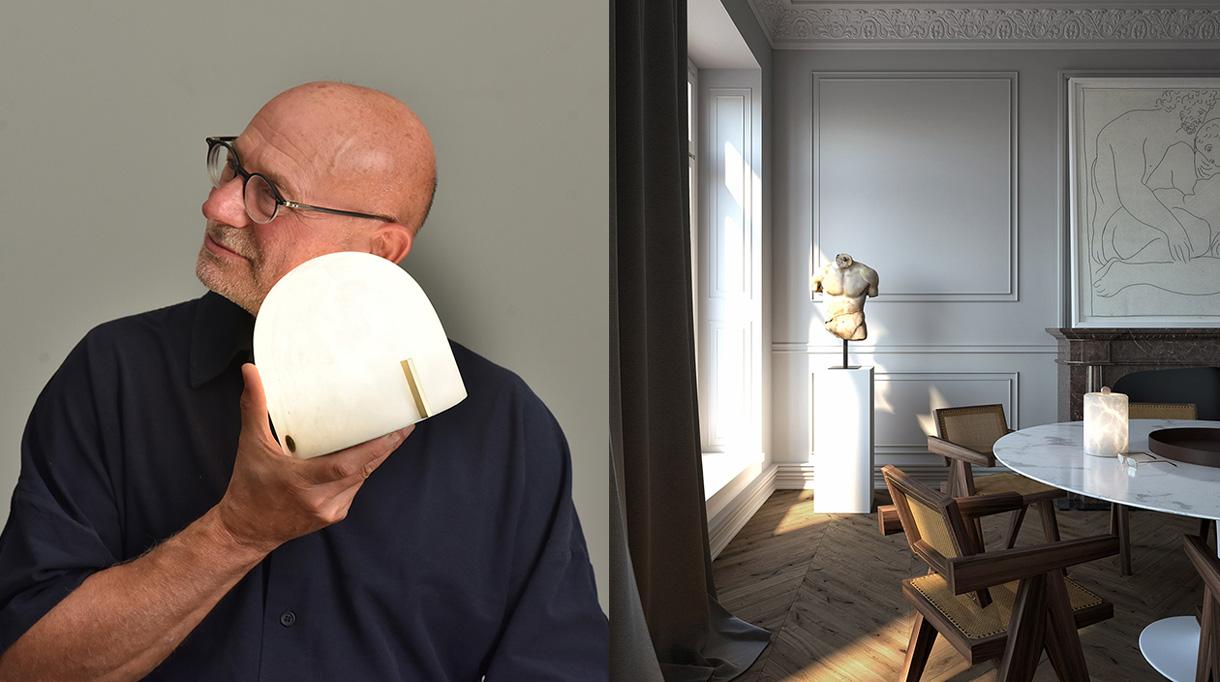 atelier alain ellouz - lampe en albatre - table knoll - chaise pierre jeanneret - signatures singulieres