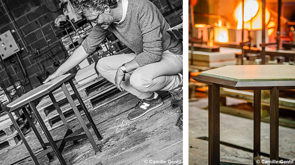 nicolas aubagnac - collection de mobilier de nicolas aubagnac pour la galerie marcilhac - designer - galerie marcilhac - mobilier art déco - gueridon en bronze et travertin - signatures Singulières Magazine - magazine digital des talents français