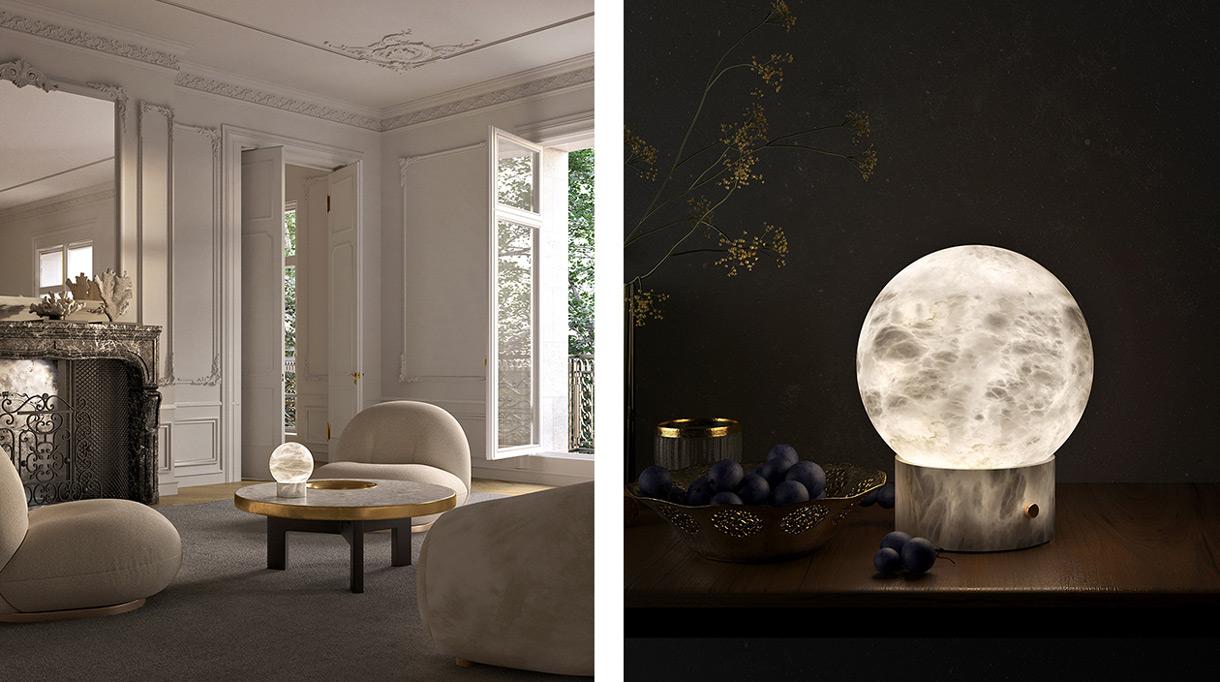atelier alain ellouz - lampe autonome en albatre - table basse finition laiton - signatures singulieres