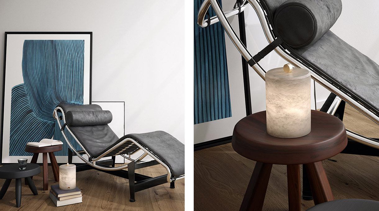 atelier alain ellouz - lampe autonome en albatre - chaise lounge LC4 en cuir noir - Le Corbusier - signatures singulieres