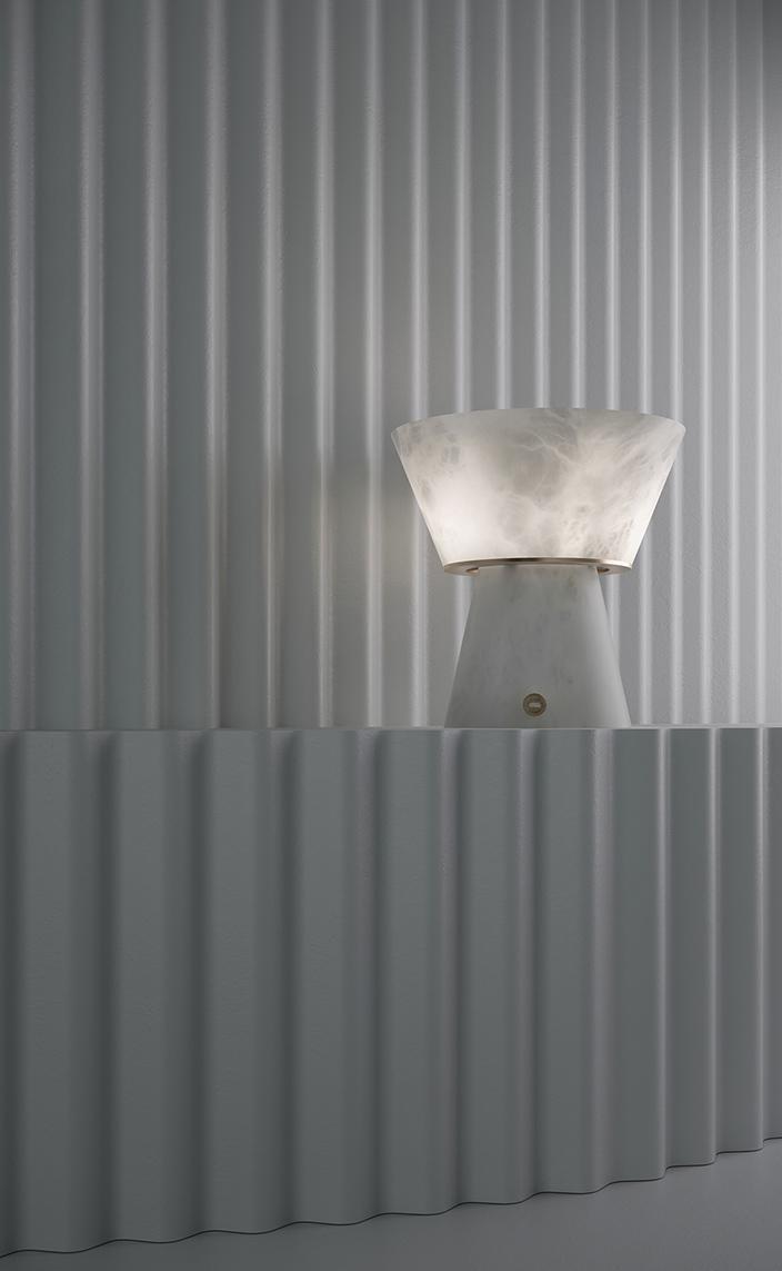 atelier alain ellouz - lampe nomade en albatre - signatures singulieres