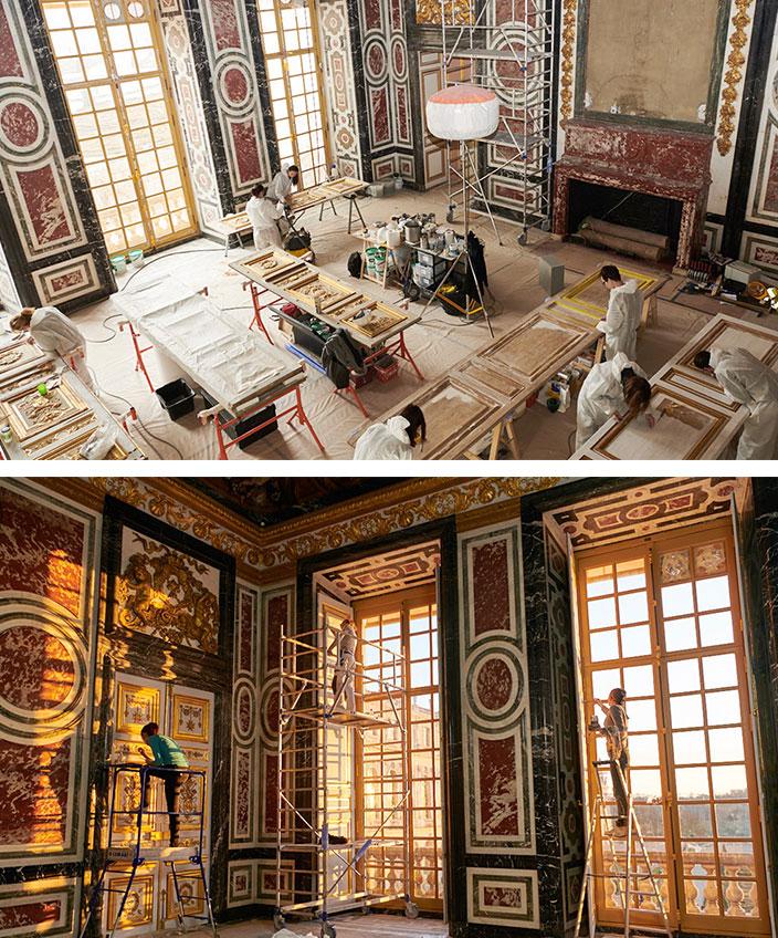 salle des gardes de la Reine à Versailles - atelier de ricou - decors muraux - signatures singulieres