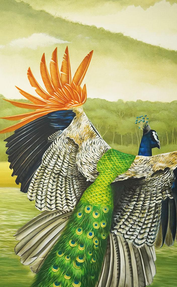 cedric peltier - manufacture emblem paris - fresque murale tropicale - paon - peacock - signatures singulieres magazine
