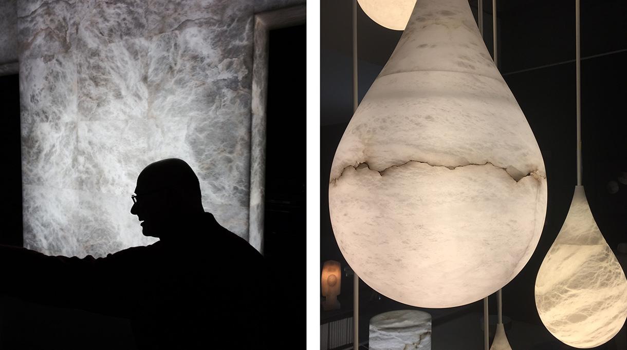 Alain Ellouz - Créateur de luminaire en albatre - Luminaire en forme de goutte d'eau - Savoir faire francais - Signatures Singulières Magazine