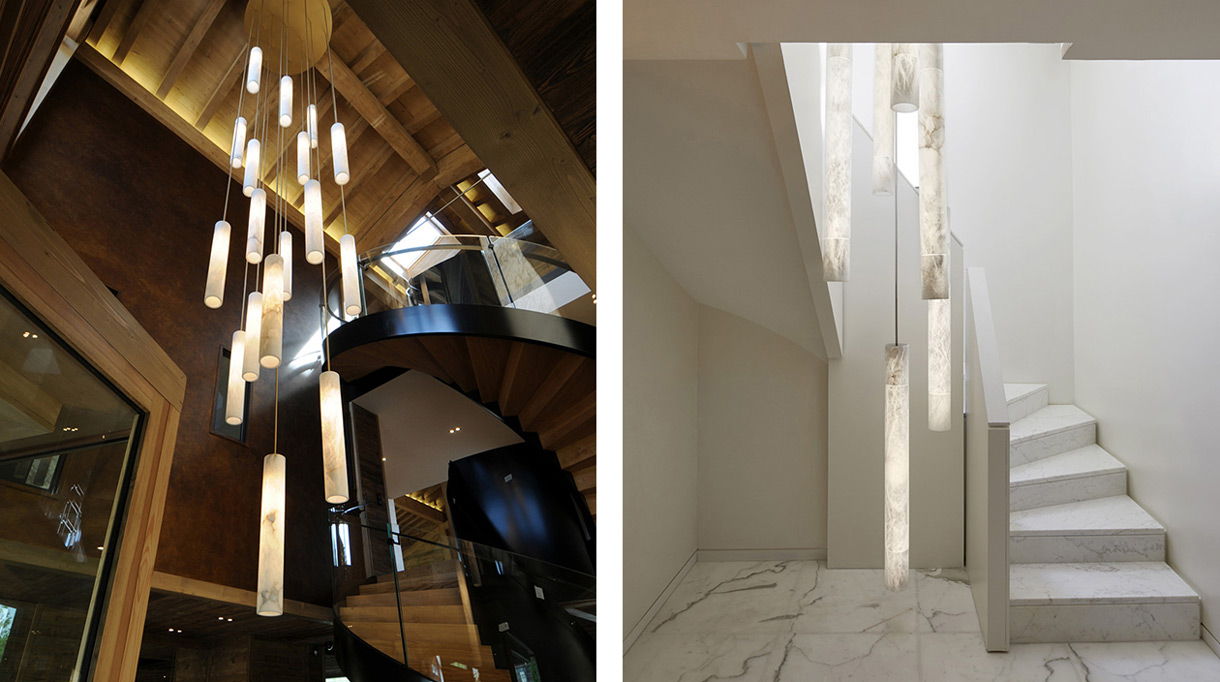 Alain Ellouz - Créateur de luminaire en albatre - Luminaire d'escalier en albatre - Escalier en marbre blanc - Sol en marbre blanc - Interieur bois et métal - Savoir faire francais - Signatures Singulières Magazine