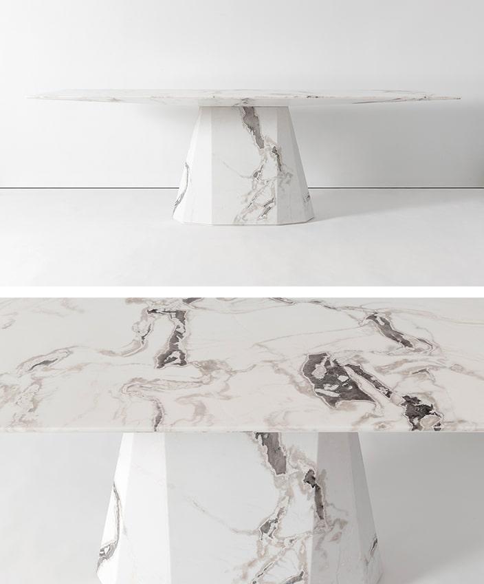 victoria wilmotte -silvera - table de salle a manger en marbre blanc - Signatures Singulières Magazine