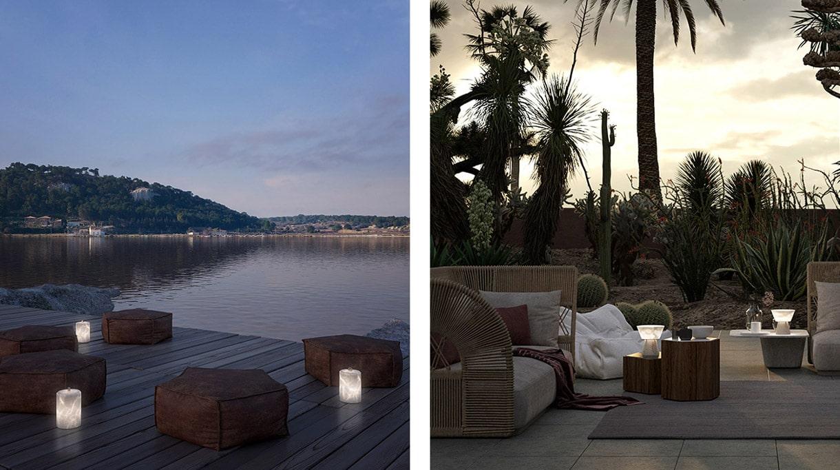 atelier alain ellouz - luminaire outdoor - lampe en albatre - terrasse en teck - savoir faire francais - signatures singulieres magazine