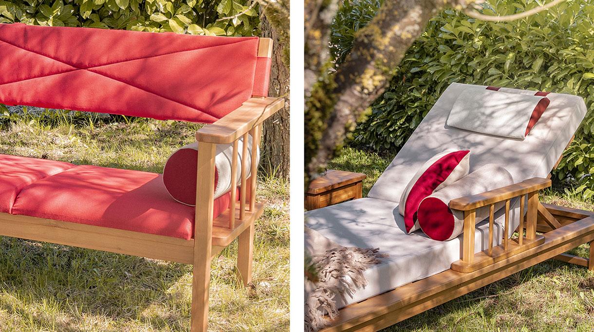 azur confort - bain de soleil outdoor - mobilier outdoor - coussin rouge outdoor - savoir faire francais - signatures singulieres magazine