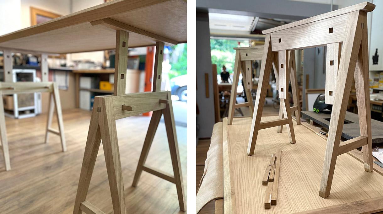 atelier bruno de maistre - table d-architecte avec treteaux - signatures singulieres magazine