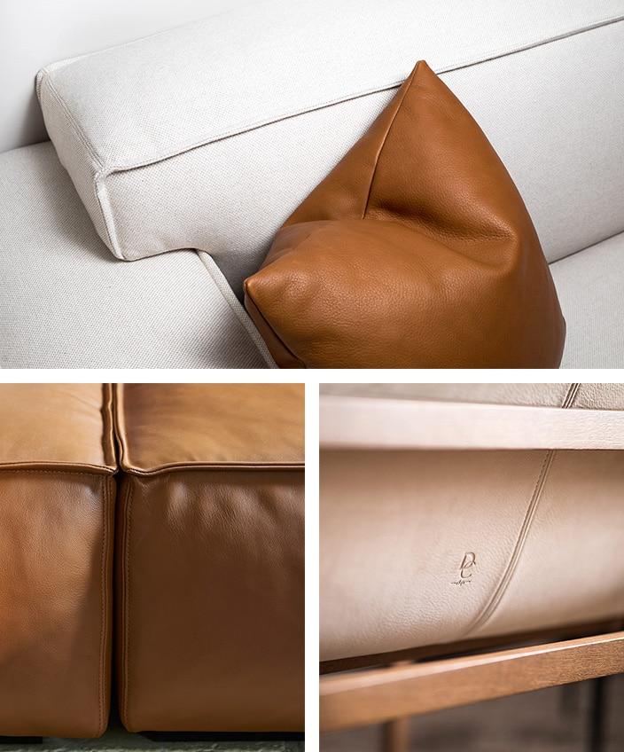 duvivier canapes - marque francaise de canape et fauteuil en cuir et tissu - canape ecru - coussin en cuir - signatures singulieres - le magazine des talents francais